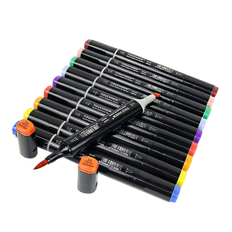 Markers-Pen-Set Alcohol-Based-Markers Art-Supplies Soft-Brush Manga Drawing TOUCHNEW