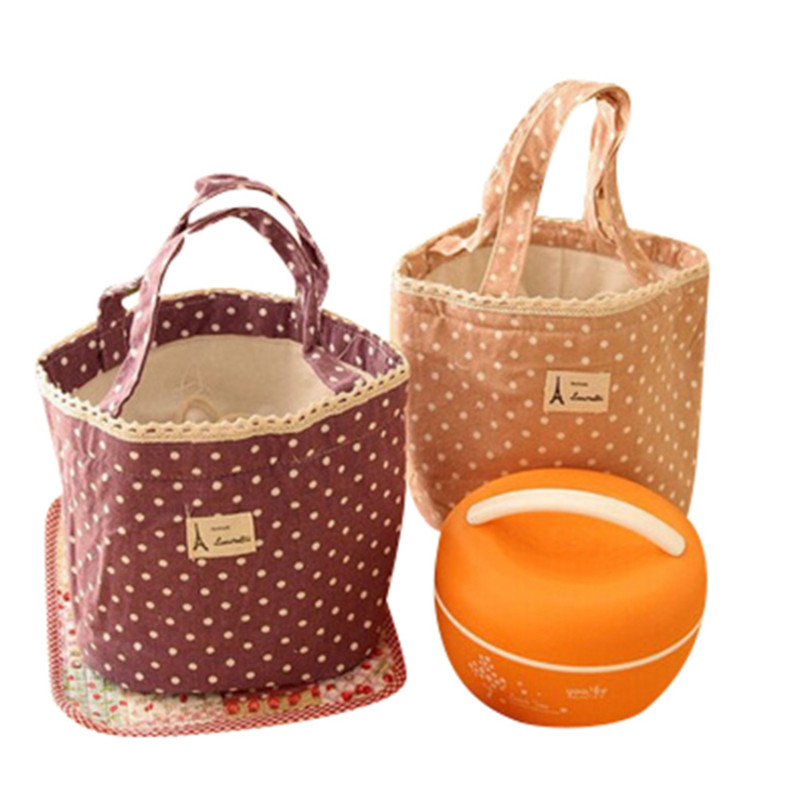 Vogvigo Portable Lunch Bag  Polka Dot Thermal Insulated Lunch Box Tote For Cooler Case School Food Storage Picnic Bags