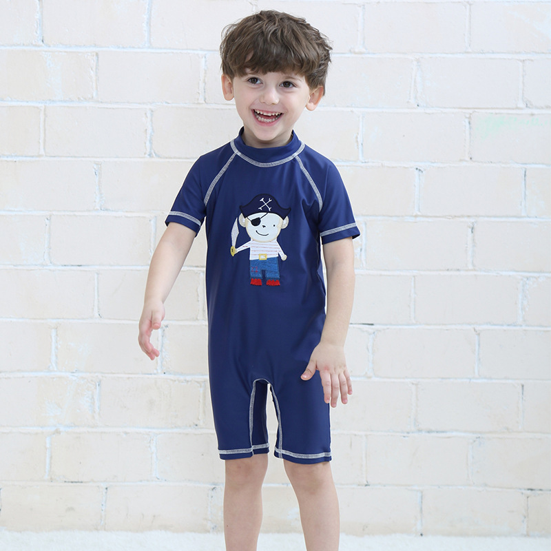 2019 New Style KID'S Swimwear Pirate Ship Captain One-piece BOY'S Swimsuit Sun-resistant Quick-Dry Baby Hot Springs Swimwear Men