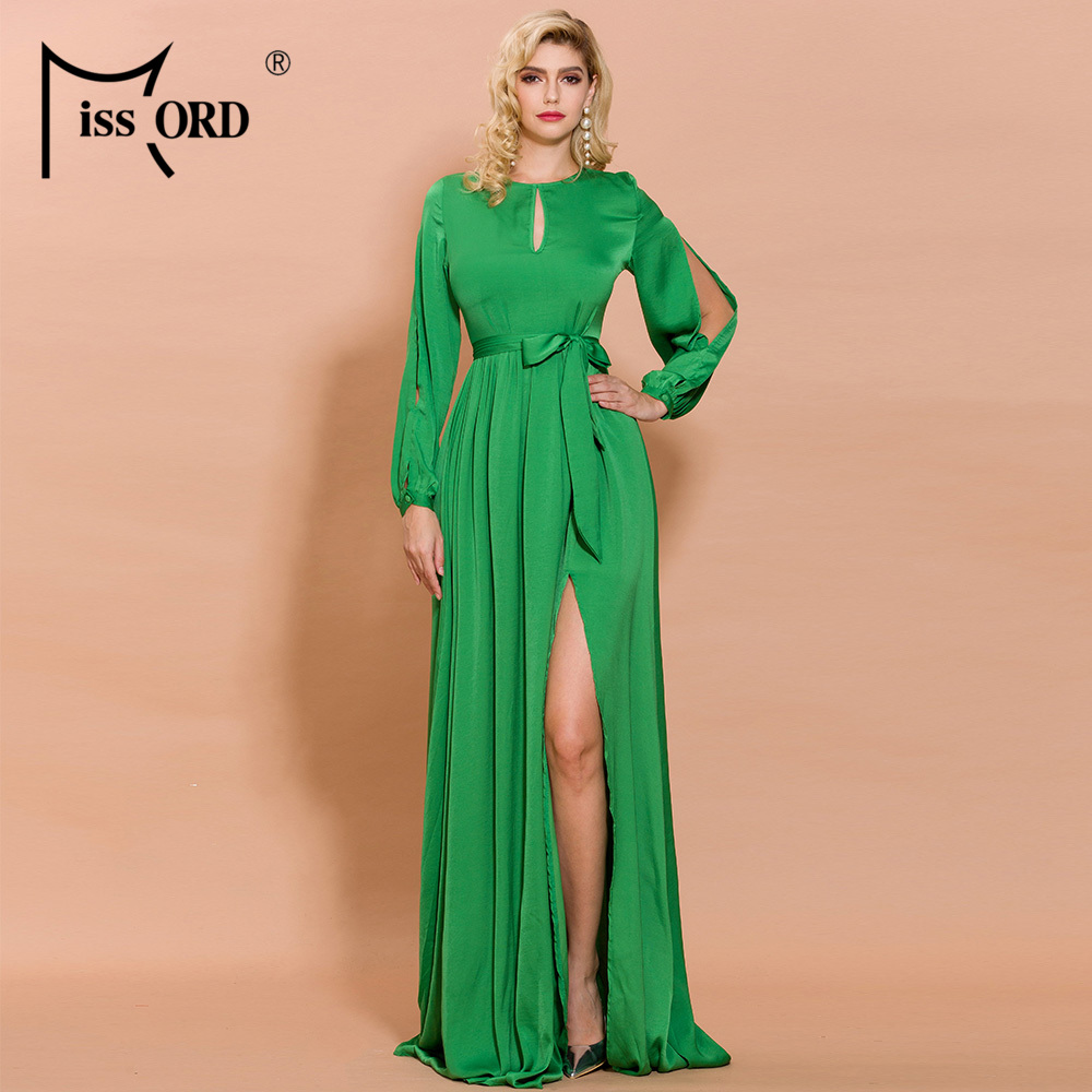 Missord 2020 Women Sexy O Neck Long Sleeve High Split Solid Color Hollow Out Dresses Female Elegant Maxi  Dress  AM0062