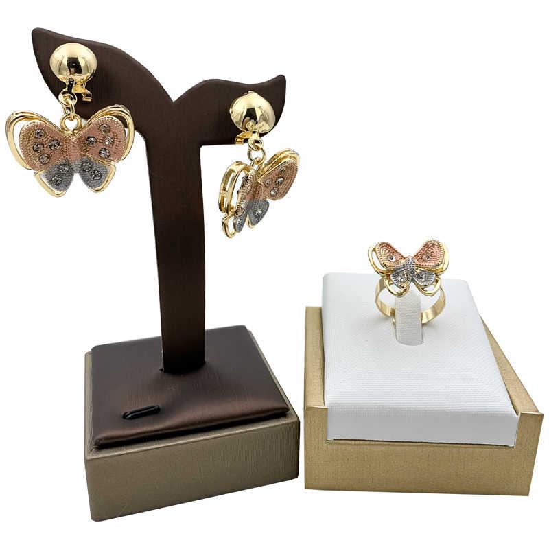 ナイジェリアクラシックジュエリーセットエレガントな花嫁のウェディング蝶の形のネックレスイヤリングブレスレットリングドバイ女性ジュエリー