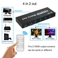 4K 30Hz HDMI Matrix 4X2 Switch Splitter Video Converter Selector HD 1080P SPDIF Stereo Audio 4kX2K for PS3 PS4 XBOX DVD PC To TV