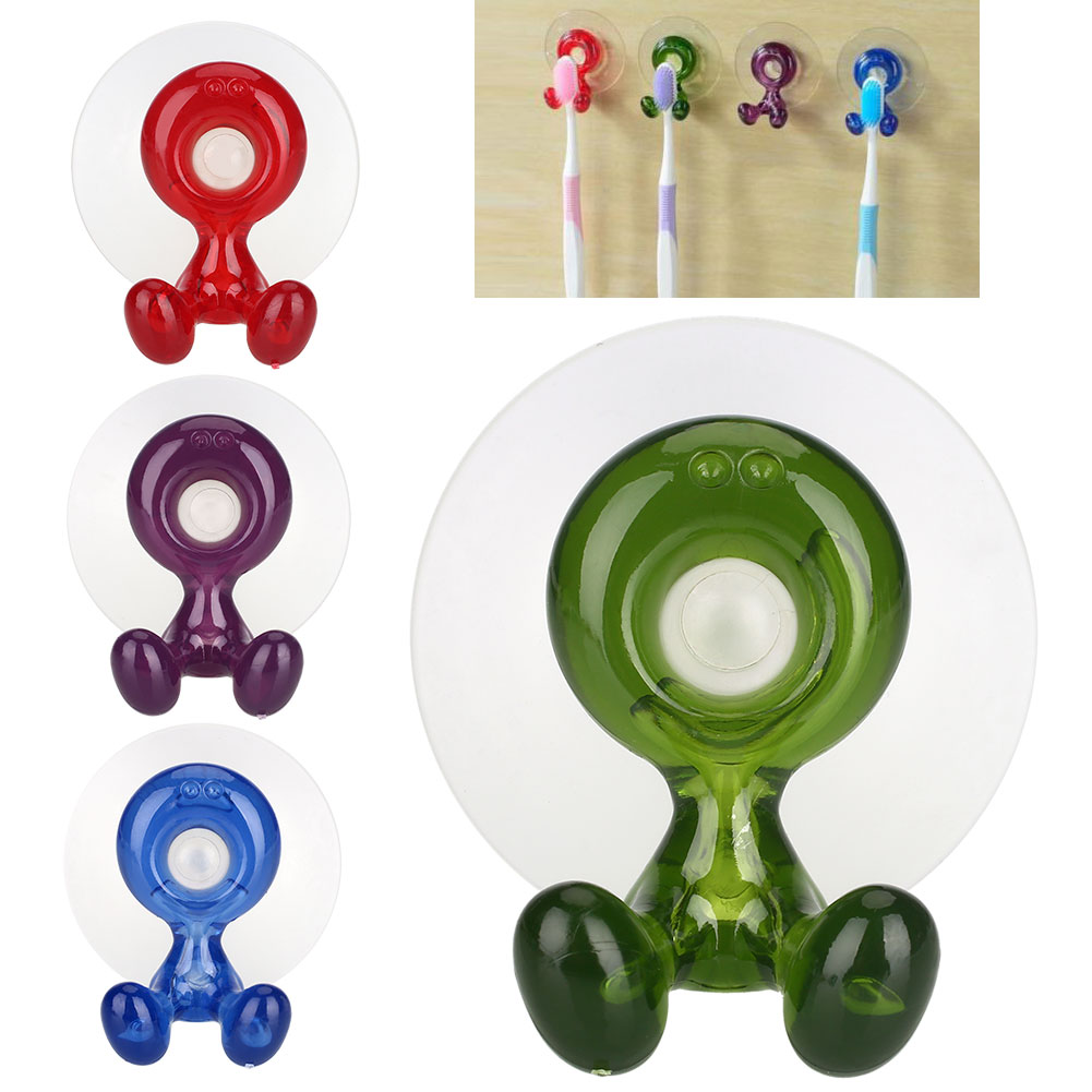Wall Hang Rack Red/Green/Blue/Purple Cartoon Fashion Suction Cup Toothbrush Holder Toothbrush Rack Plastic Home Sucker Bathroom image
