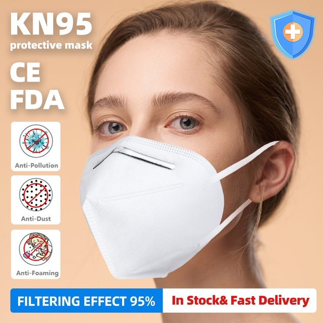 KN95 Mask with Valve Safety Protective Mask PM2.5 N95 Fliter Anti Dust Pollution Earloop Face Mask Flu Respirator as KF94 9502v 1