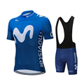 Комплект одежды для велоспорта Movistar Pro, летняя одежда для езды на велосипеде, комплект с шортами и нагрудником, для мужчин