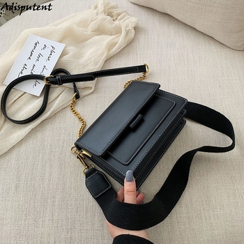 Fashion Women PU Leather Messenger Bags Crossbody Chain Bag And Handbags With Metal Chain  2020 Fashion Small Package