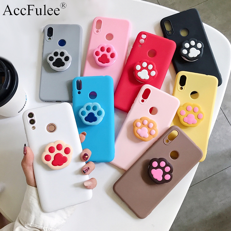 Cute Cat Claw Phone Holder Case For Motorola Moto G8 Power G7 G6 G5S E6 E5 E4 P40 One Vision Action Macro Foot TPU Holder Cover
