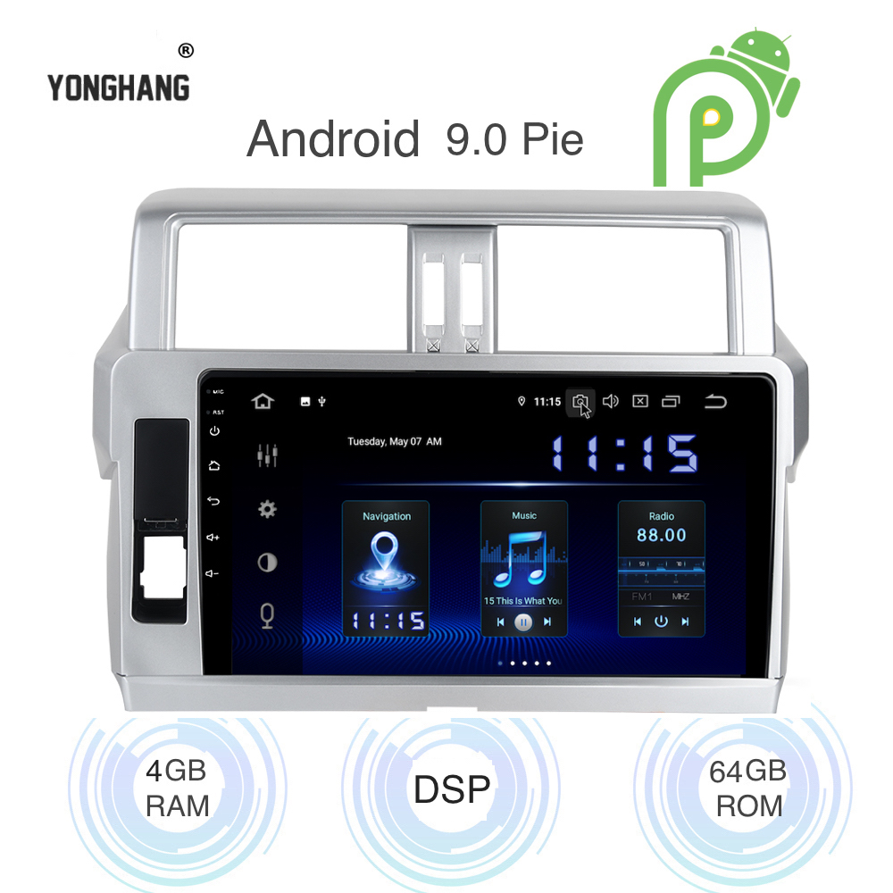 Android 9.0 Car <font><b>Radio</b></font> 1 Din GPS Navi for <font><b>Toyota</b></font> Prado <font><b>150</b></font> 2013 2014 2015 - <font><b>2018</b></font> PX6 DSP IPS HDMI output 4Gb+64Gb RDS WIFI BT image