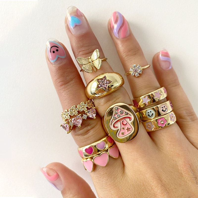 Korean Charms Smiley Heart Flower Rings for Women Metal Star Butterfly Harajuku Vintage Letter Rings Y2k Jewelry 90s Aesthetic