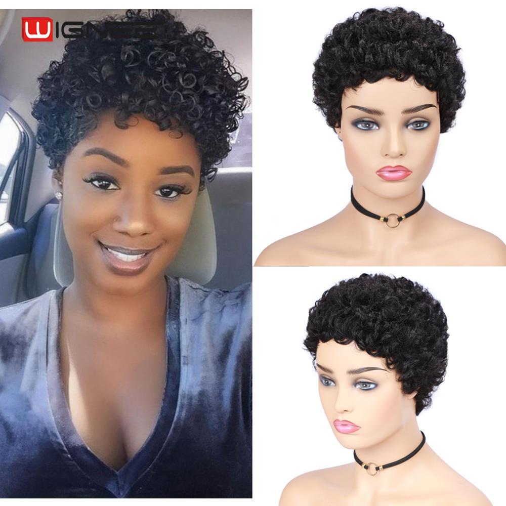 Wignee Short Curly Human Hair Wig For Black Women Remy Brazilian Hair Afro Curl Glueless Pixie Cut Cheap Human Wig Free Shipping
