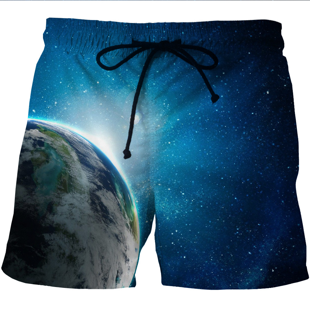 Men's Quick Dry Shore Shorts With 3D Creative Printing And Recreational Side Pocket Shorts