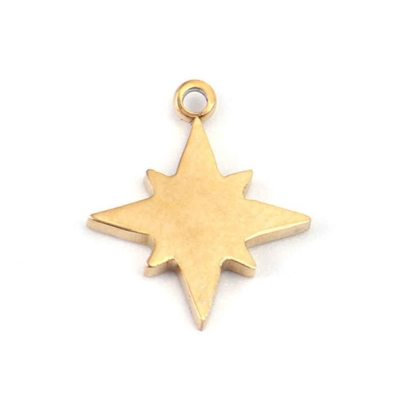 2 Buah Baru Stainless Steel Pesona Liontin Bentuk Bintang Emas Hiasan Temuan untuk Fashion Perhiasan Membuat Aksesoris 11 Mm X 10 Mm