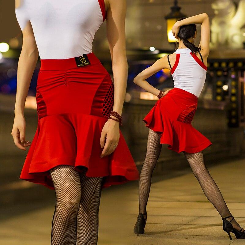 Dames Latin jupe adulte nouveau poisson os Dane jupe rouge pratique porter des femmes Rumba Charleston Samba Dacing jupe de femmes BL2284