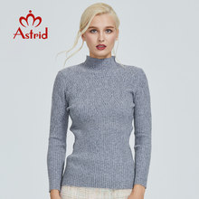 Astrid 2019 Autumn new arrival women sweater top beige plaid slim fashion high quality pullovers elegant crop sweater MS-007(China)