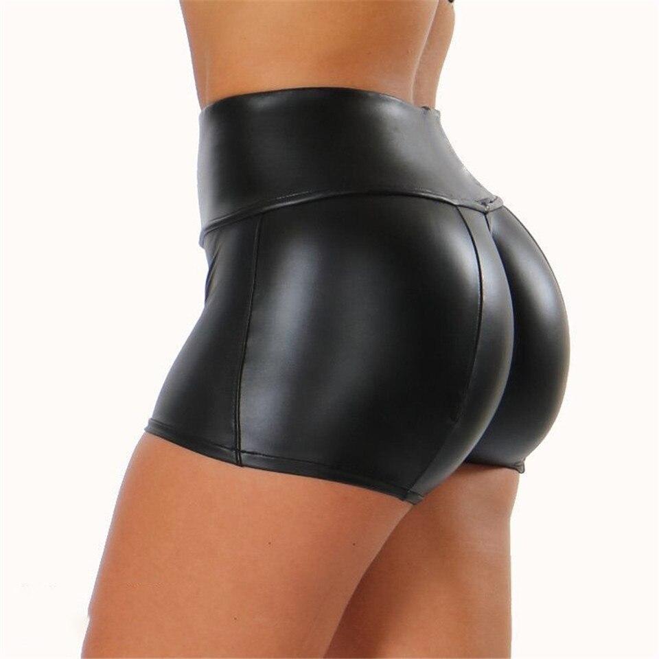 2020 New Sexy Black Short Leggings Women High Waisted Leggins Stretch Club Pants Ladies Elastic Clothing Panties Clubwear Mujer