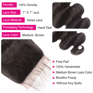 "Image 5 - Unice Hair Brazilian Body Wave 7""x7"" Closure Free Part Human Hair Lace Closure 10"" 18"" Swiss Lace Remy Hair Extension"