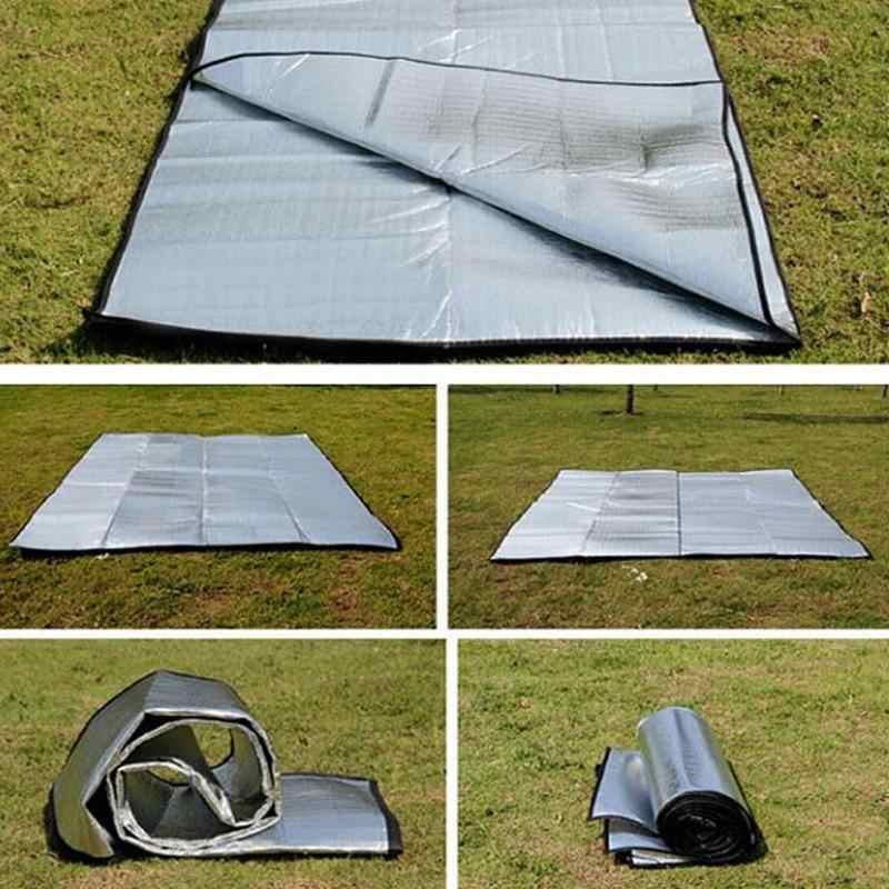 防水アルミ箔 Eva キャンピングマット折りたたみ折りたたみピクニックビーチマットレス屋外マットパッド 3 サイズ 100 〜 200 × 200 センチメートル