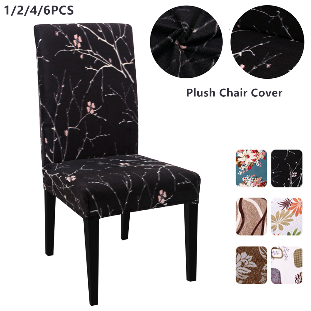 1/2/4/6Pcs Flower Printing Thick Plush Chair Cover Stretch Elastic Slipcovers Teddy Fleece Banquet Folding Hotel Chair Covers