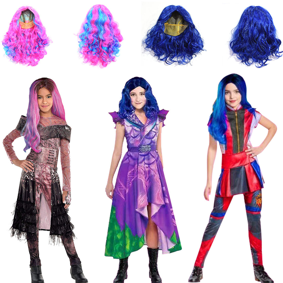 Descendants 3 Mal Bertha Maleficent Long Live Evil Straight Purple Kids Adult Cosplay Wig + Jumpsuits Halloween Costume For Kids