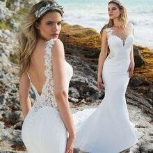 Vestidos de novia bohemios de sirena con cuello redondo, apliques de encaje, para playa