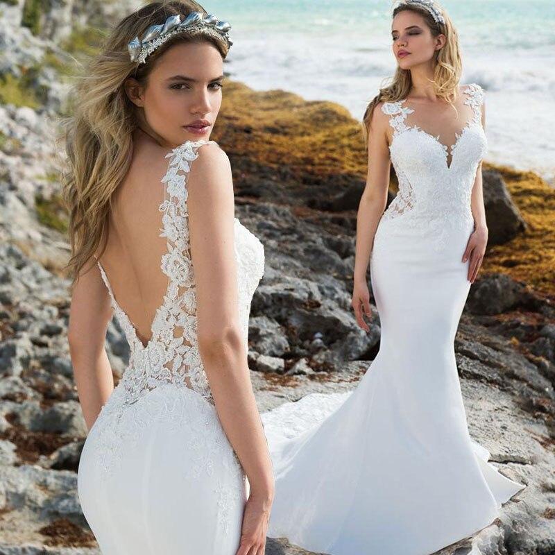 Vestidos de Casamento de Praia Apliques de Renda Vestido de Noiva Eightale Sereia Gola Redonda Estilo Boho