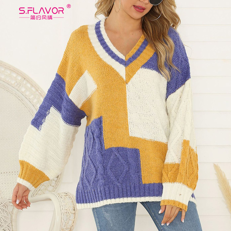 S.FLAVOR Women Sweater For Autumn Winter 2019 Fashion Patchwork V Neck Knitted Long Sleeve Pullover Female Loose Jumper
