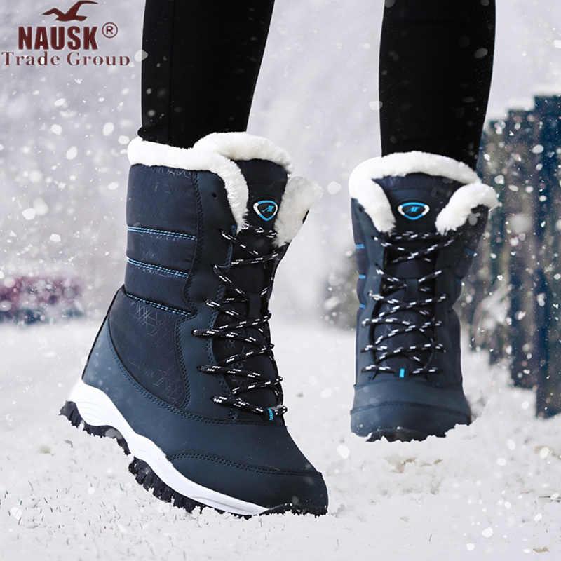Vrouwen Laarzen Waterdichte Winter Schoenen Vrouwen Snowboots Platform Warm Houden Enkel Winter Laarzen Met Dikke Bont Hakken Botas Mujer 2019