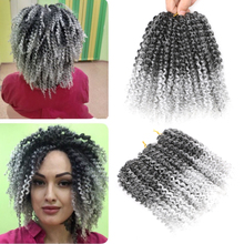 BellQueen Marlybob Braids Crochet Hair 8 #8221 Synthetic Hair Extensions 3pcs pack Brown Grey Purple Afro Curly Twist Hair 90g pack cheap Low Temperature Fiber CN(Origin) Marley Braids 1strands pack Ombre