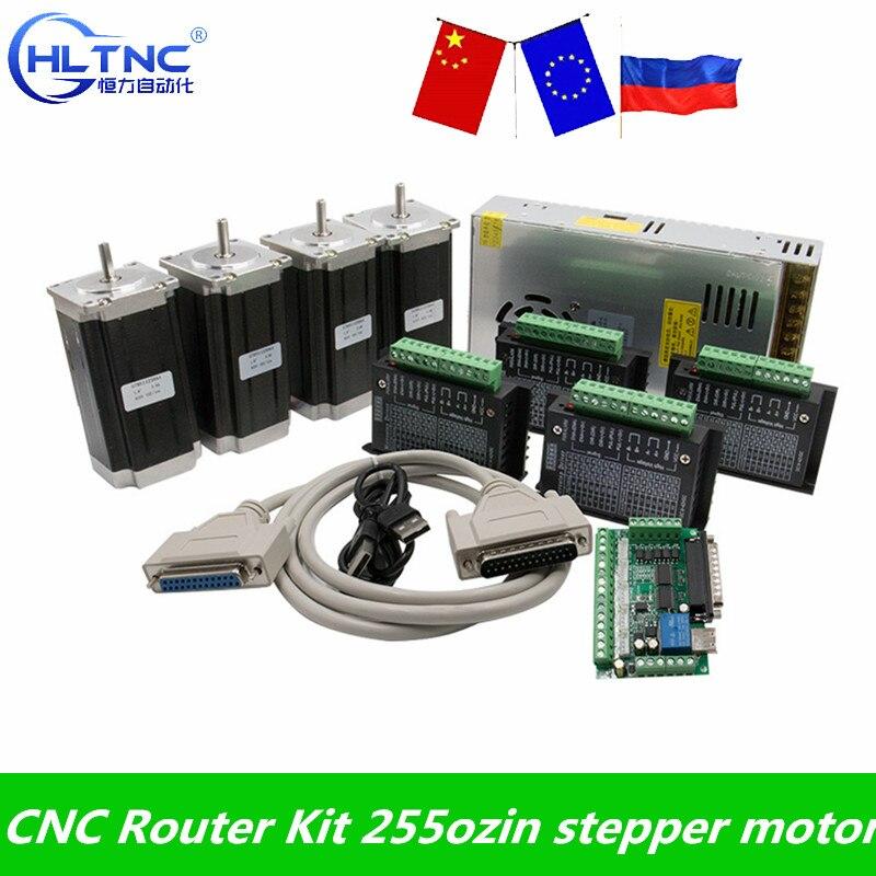 Набор маршрутизатора с ЧПУ 4 оси, 4 шт. Nema23 шаговый двигатель + DM542 Драйвер + MACH3 DB25 интерфейсная плата + 1 источник питания 350 Вт 36 В