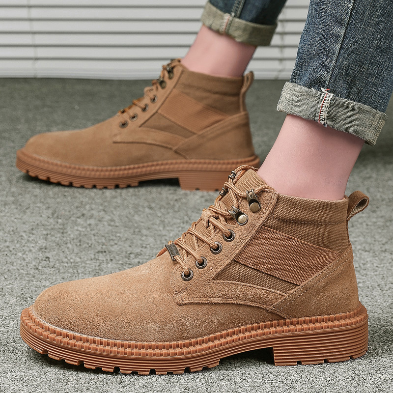 VastWave Suede Leather Mens Soldier Ankle Boot Safety Work Boots Army Boot Canvas Webbing Man's Military Boot Male Shoes