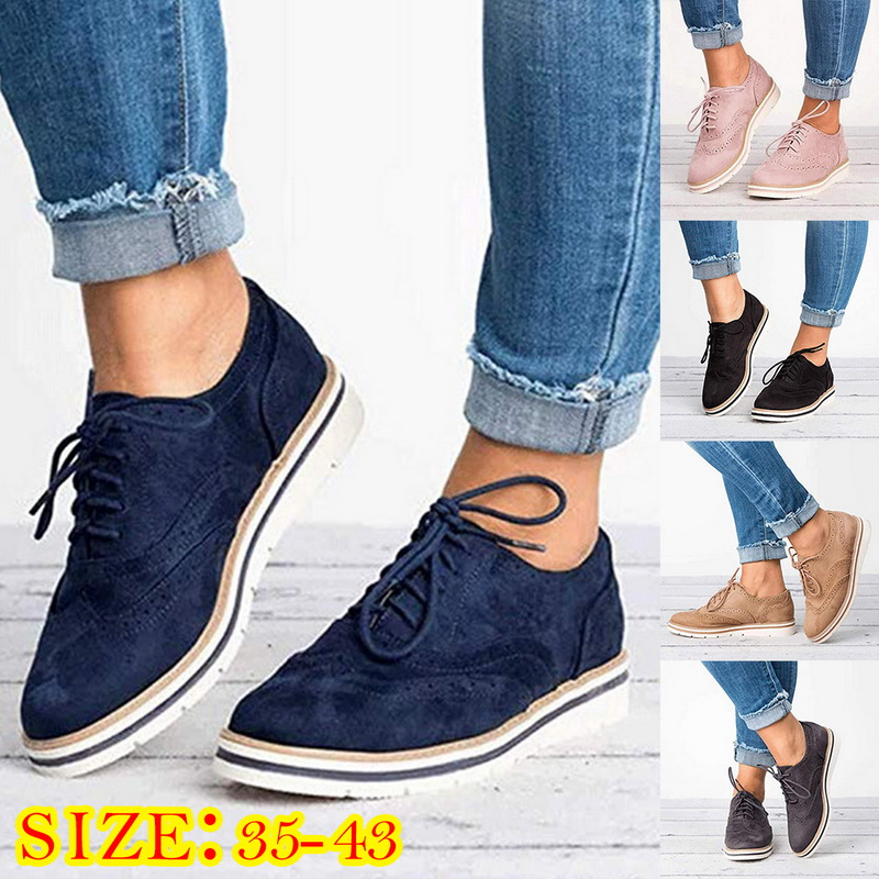 Fashion Oxford Flat Shoes Woman Casual Platform Shoes Lace Up Sneakers Womens Vintage Flat Shoes Female Zapatos De Mujer