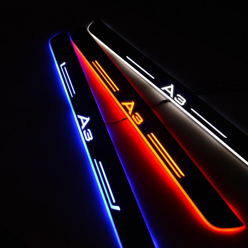 LED araba kapı eşiği Audi A3 Sportback 8PA 2004-2015 kapı sürtme plakası pedalı eşik karşılama ışık araba aksesuarları
