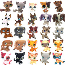 LPS chat Rare animalerie jouets Stands cheveux courts chaton chien teckel Collie épagneul grand danois ancien Original Collection Figure(China)