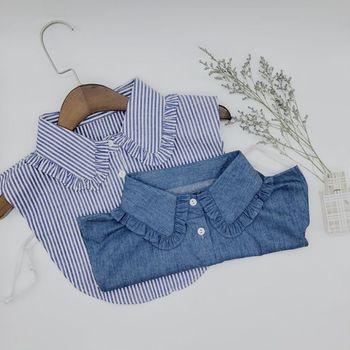 Minimalista rayas Denim mujeres desmontable solapa cuello falso Linda muñeca volantes encaje empalme botón abajo falso mitad blusa de la camisa
