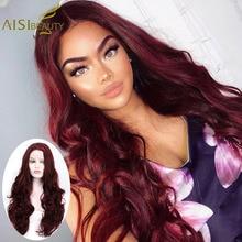 ايسي الجمال 28 بوصة متموجة النبيذ الأحمر الاصطناعية الشعر الرباط الجبهة الباروكات للنساء 4 ألوان أومبير الأسود الوردي الشعر تأثيري