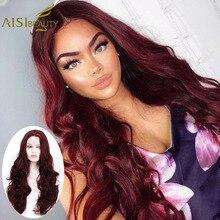 AISI GÜZELLIK 28 inç Dalgalı Şarap Kırmızı Sentetik Saç Dantel Ön Peruk Kadınlar Için 4 Renk Ombre Siyah Pembe Saç cosplay