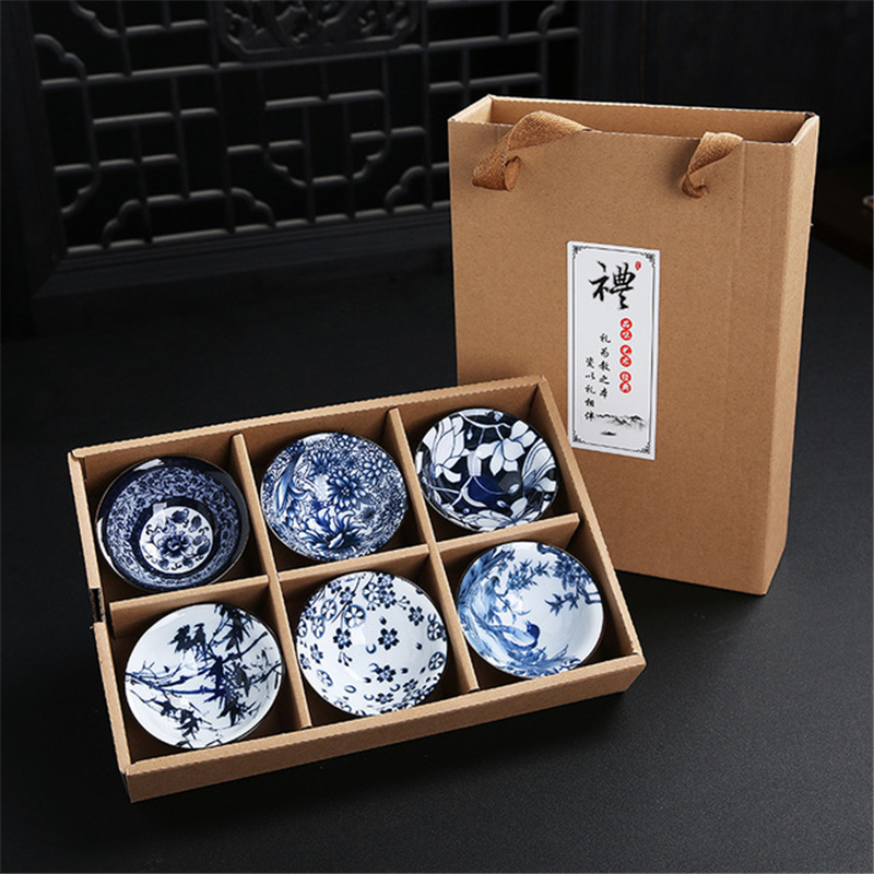 6pcs Drinkware Bue And White Chinese Porcelain Tea Bowl For Puer Teacup Tea Set Ceramic Atique Glaze Kung Fu Tea Master Cup