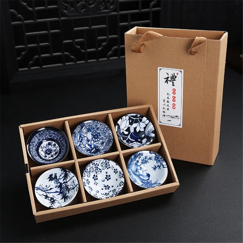 6pcs Drinkware Bue And White Chinese Porcelain Tea Bowl For Puer Teacup Tea Set Ceramic Atique Glaze Kung Fu Tea Master Cup