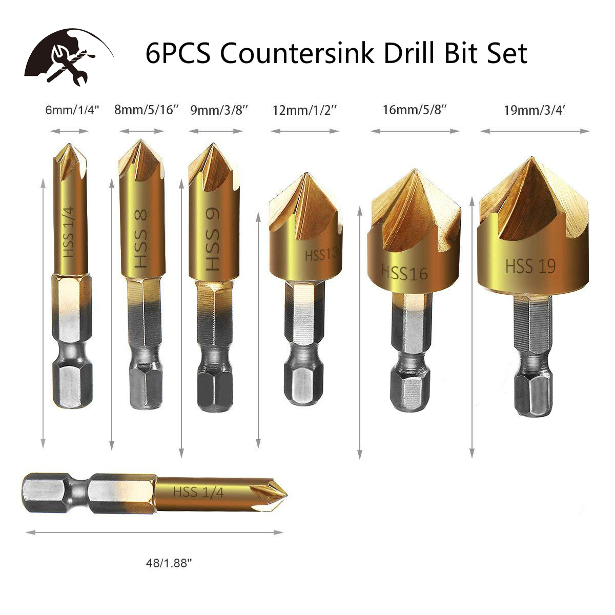 6PCS Countersink Drill Bit Set 1/4'' Hex Shank HSS 5 Flute Countersink 90 Degree Center Punch Tool Sets Wood Chamfering Cutter