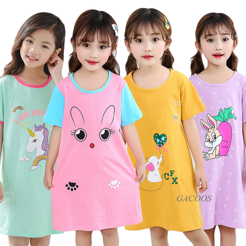 Kids Girls 100% Cotton Nightgowns Cartoon Nightdress Girl Sleepwear Sleepshirt Summer Short Sleeves Nightwear Children Clothes