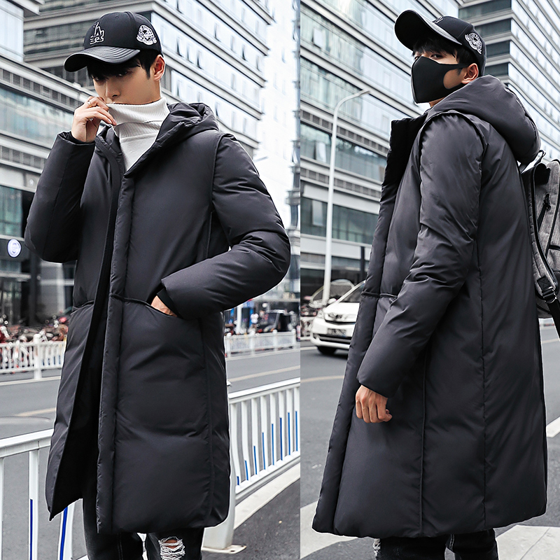 Long Parka Men Winter Coat Warm Thick Casual Hooded Jacket Male Solid Color Cotton Youth Winterjas Heren Manteau Homme Hiver