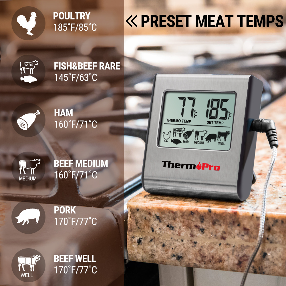 ThermoPro TP 16 Digital Food Thermometer for Oven with Digital LCD Display Programmed with Preset Temperatures for Meats at Various Cooking Levels 1