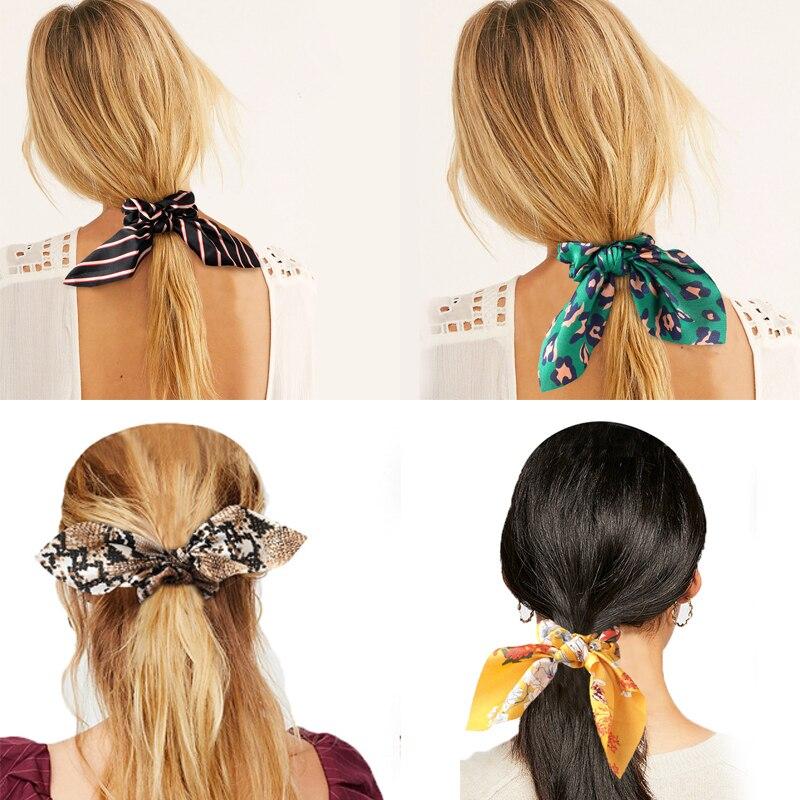 Women Streamers Leopard Print Polka Dot Floral Print Elastic Bow Hair Rope Girl Hair Ties Korean Sweet Hair Accessories Headwea