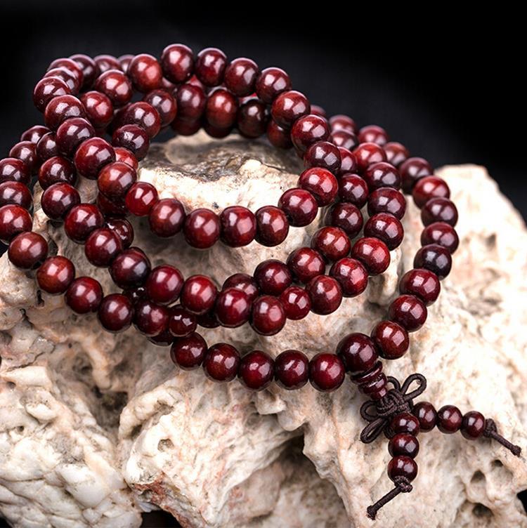 Vintage Ethnic Sandalwood Buddhist Buddha 6mm 108 Prayer Beads Mala Knot Elastic Bracelet For Women Men
