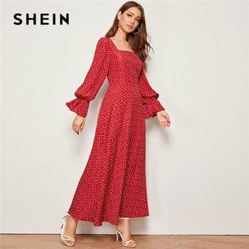 SHEIN الأحمر مربع الرقبة القلب طباعة أنيقة فستان طويل المرأة الخريف انتفض كم عالية الخصر زيبر عودة متوهج ماكسي فساتين