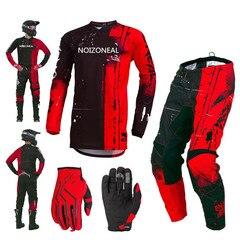 NOIZONEAL Motocross Anzug Motobiker Racing Red Jersey Hosen MX ATV Dirt Bike Racing Sets reiten Getriebe Kombination + freies handschuh