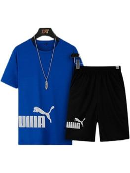 2021 Summer Men's T-shirt Set 2-piece Men's Sportswear Suit Basketball Sports Fitness  Printed Short Sleeve + Men's Suit 6
