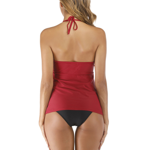Image 5 - Riseado 2020 Nieuwe Vrouwen Badpak Tweedelige Sexy Halter Badmode Rode En Zwarte Tankini Set Ruches Badpakken Mesh beachwear
