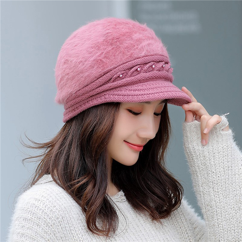 Winter Knitted Peaked Hat Ladies Thermal Pearl Cap Solid Color Windproof Earmuffs Hat Female Autumn New Beret Cap