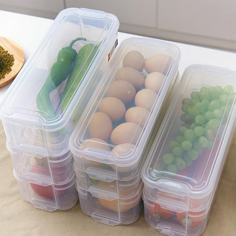 Dreamburgh Multi-Layer Crisper Kitchen Storage Box Refrigerator Frozen Food Storage Box Household Storage <font><b>Container</b></font> Lid Egg Box image